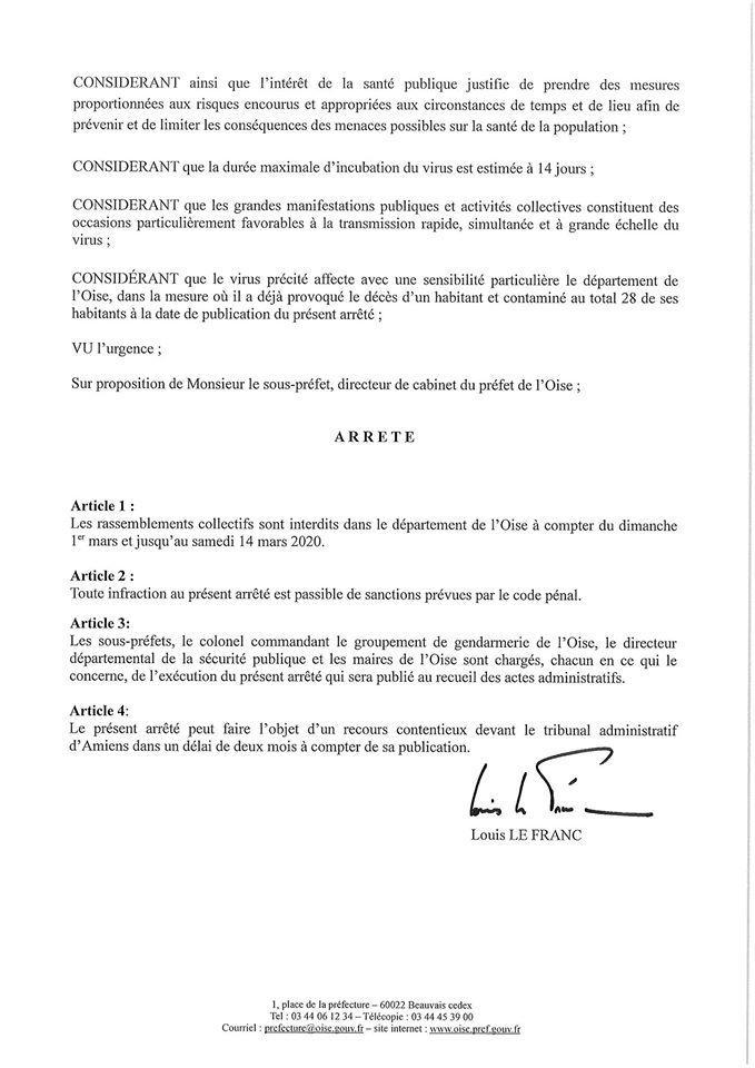 Arrêté préfectoral du 29 février 2020