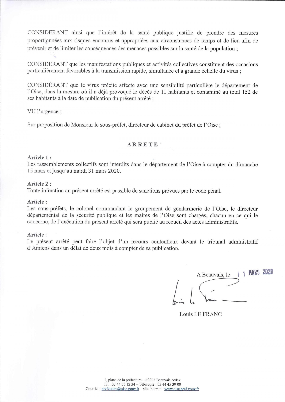 Arrêté préfectoral du 11 mars 2020 prorogeant l'arrêté portant interdiction des rassemblements dans le département de l'Oise, du dimanche 15 mars 2020 au mardi 31 mars 2020.